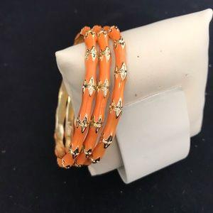 Kenneth Jay Lane Set of 3 Enamel Bangles Orange